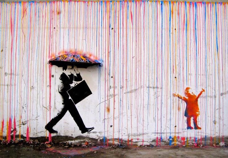 Banksy Pioggia colore